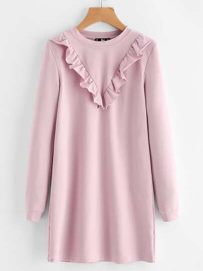 Frill Trim Sweatshirt Dress