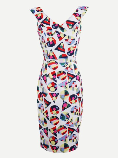 Allover Geo Print Double V Pencil Dress