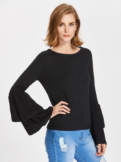 Layered Trumpet Sleeve Jumper