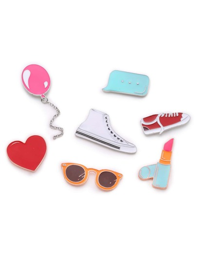 Shoes & Balloon Design Brooch Set