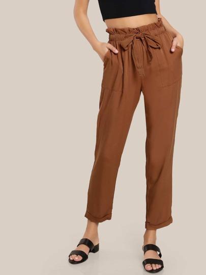 Ruffle Waist Belted Peg Pants