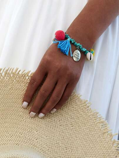 Pom Pom & Tassel Decorated Stone Bracelet