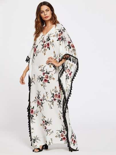 Flower Print Tassel Trim Poncho Dress