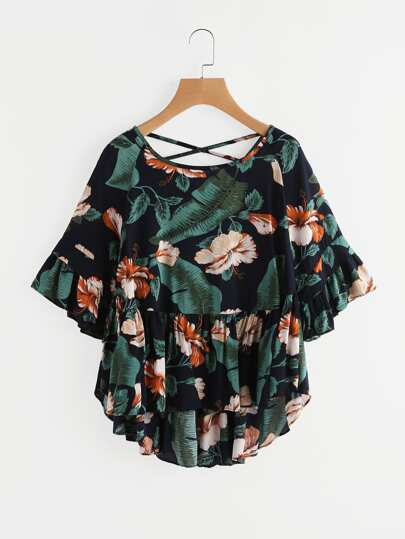Tropical Print Crisscross Back Frill Blouse