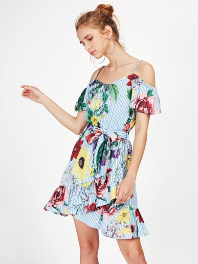Random Jungle Print Frill Hem Overlap Dress