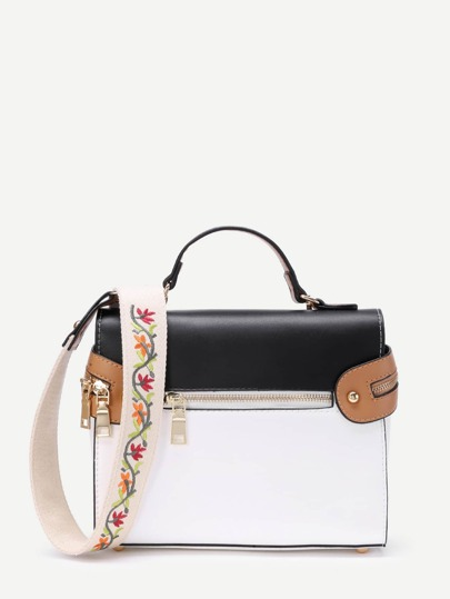 Piping Detail PU Grap Bag With Embroidered Strap