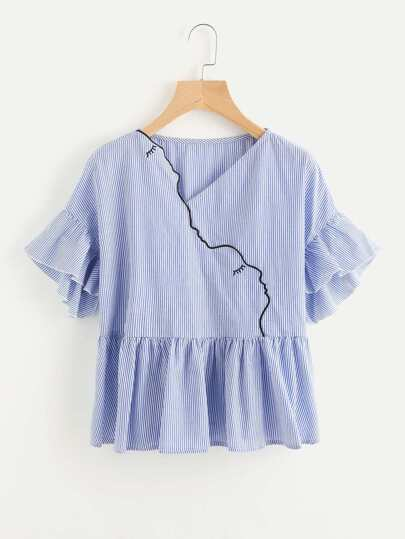 Outline Embroidery Surplice Front Frilled Peplum Top