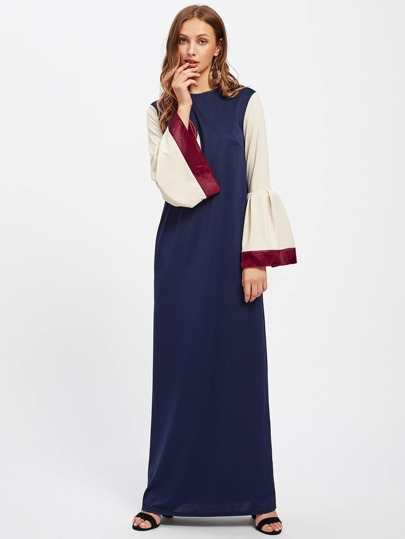 Kaftan Dress With Satin Trim Contrast Bell Sleeve