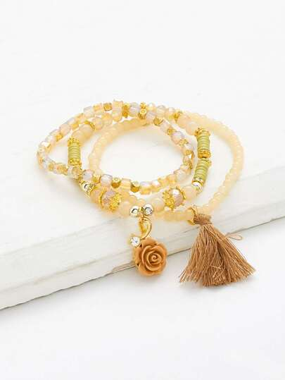 Flower & Tassel Beaded Bracelet Set