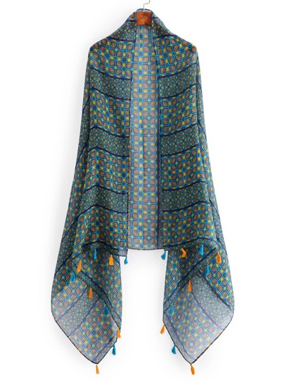 Graphic Print Tassel Trim Scarf