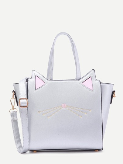 Cat Ear Embroidery Detail PU Shoulder Bag