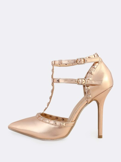 Studded Metallic Pumps ROSE GOLD