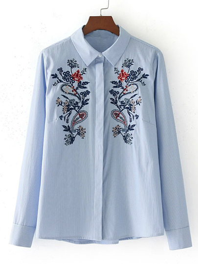 Flower Embroidery Pinstripe Blouse