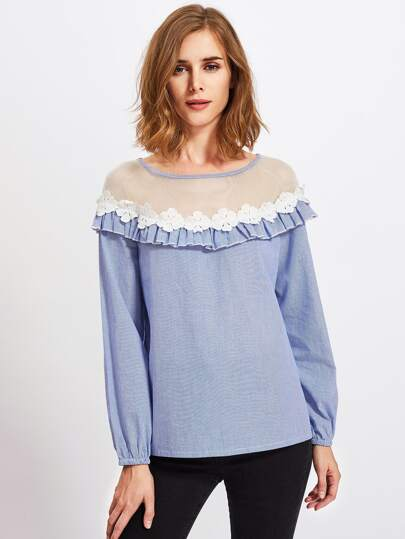 Contrast Fishnet Neck Flower Applique Frill Detail Blouse