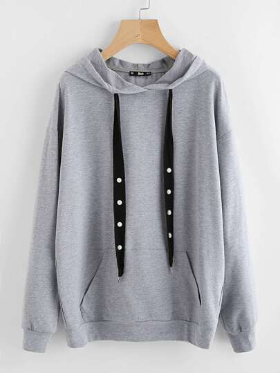 Pearl Beading Drawstring Heather Knit Hoodie