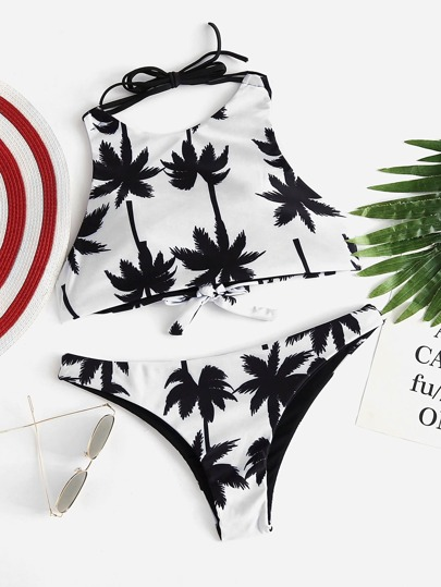 Palm Tree Print Cross Back Bikini Set