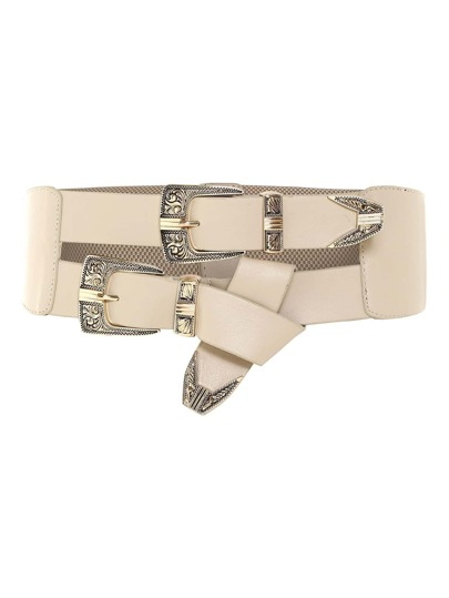 Knot Detail Double Buckle Belt