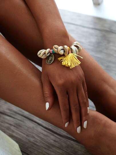 Shell & Tassel Design Charm Bracelet