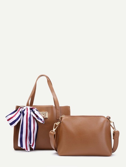 Scarf Decorated PU Tote Bag With Shoulder Bag