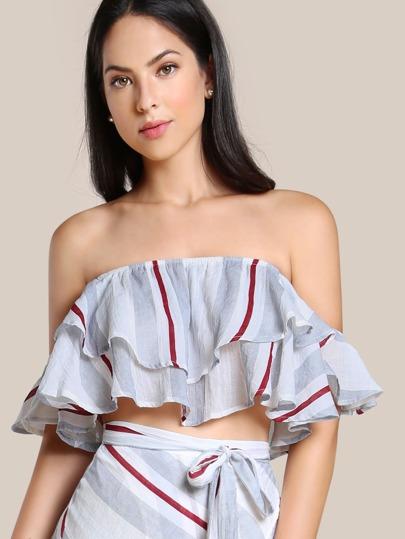 Layered Bardot Sleeve Striped Crop Top STRIPE