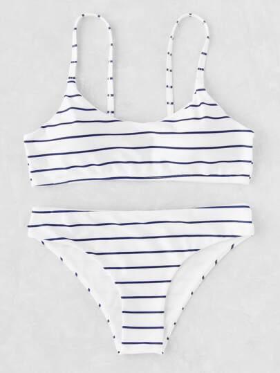 Ensemble de bikini imprimé des rayures à bretelle