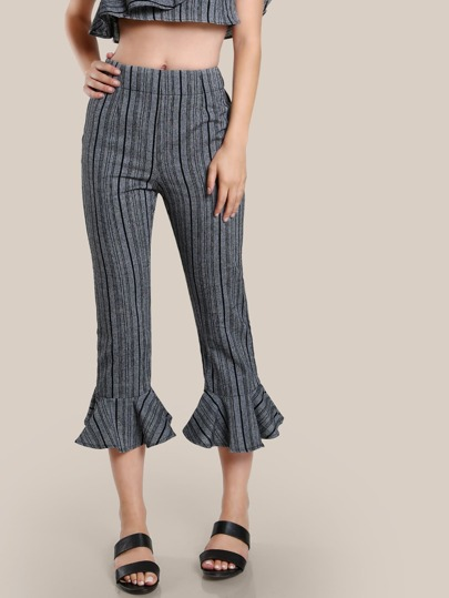 Multi Stripe Ruffle Hem Pants BLACK