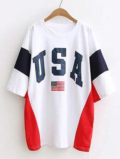 Color Block American Flag Print Tee Dress