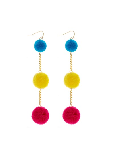 Multi Pom Pom Drop Earrings