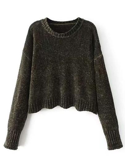 Drop Shoulder Wave Hem Sweater
