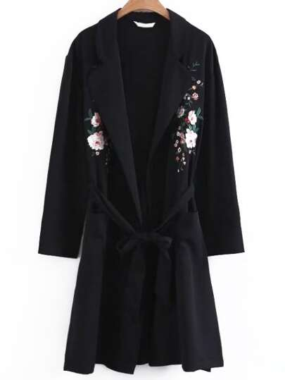 Flower Embroidery Longline Coat With Self Tie