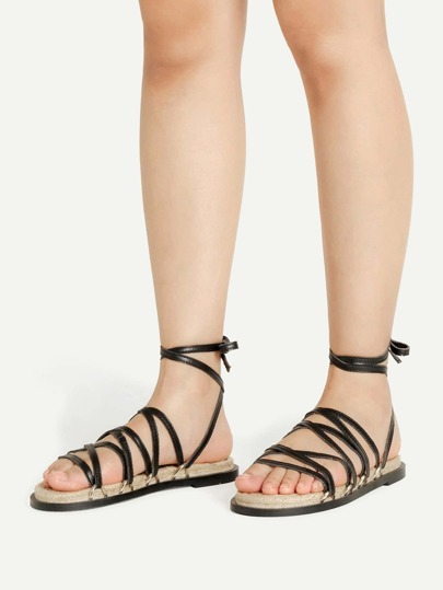 PU Strappy Flat Sandals With Convertible Brown Strap