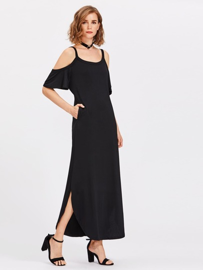 Slit Side Curved Hem Dress
