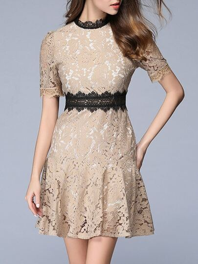 Color Block Contrast Crochet Ruffle Lace Dress