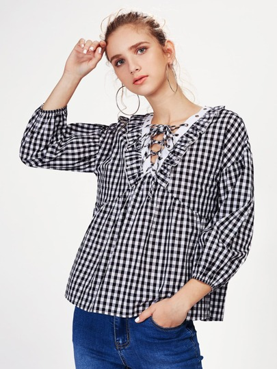 Frill Trim Lace Up Neck Gingham Blouse