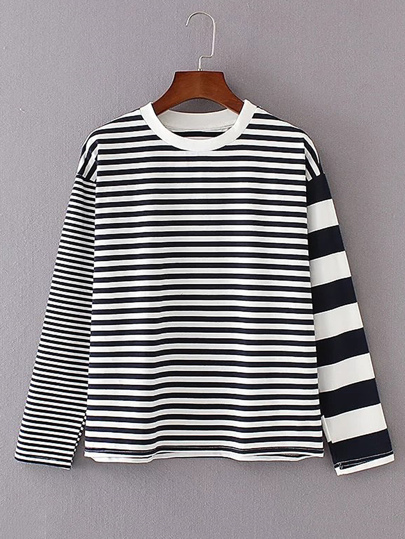 Contrast Striped Loose Sweatshirt