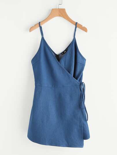 Surplice Wrap Denim Cami Romper