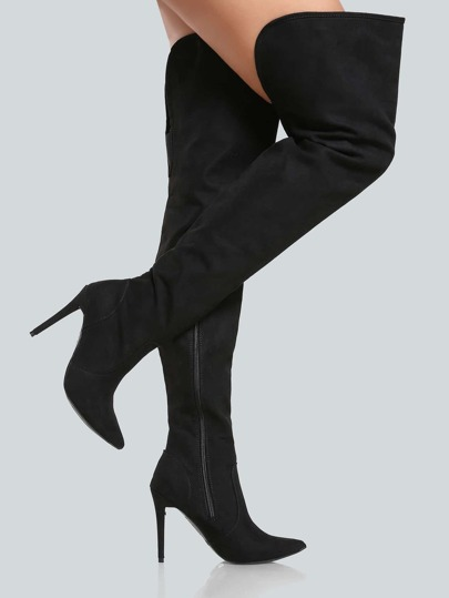 Faux Suede Pointy Toe Thigh High Pump