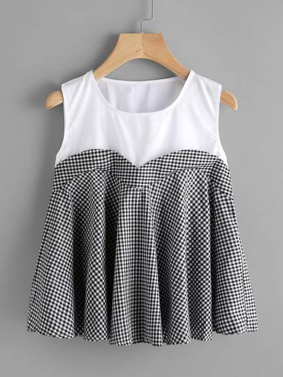 Contrast Panel 2 In 1 Gingham Top