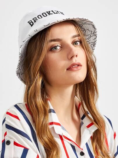 Cappello da pescatore con stampa di slogan