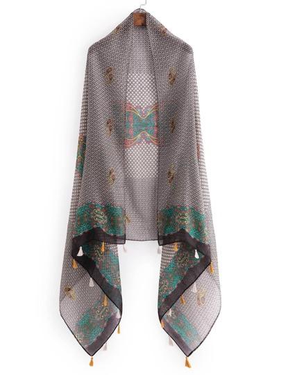 Écharpe imprimée rétro avec des franges