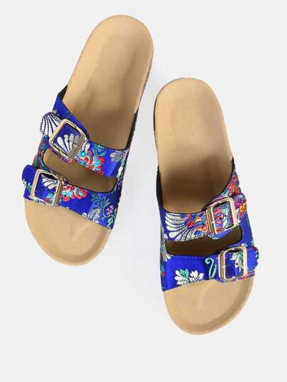 Double Buckle Oriental Slip Ons BLUE