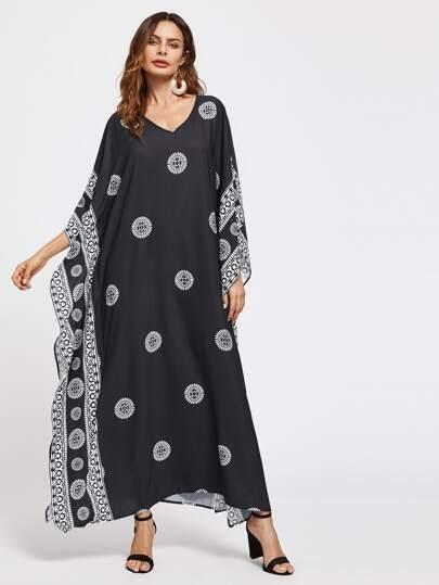 Ornate Print Poncho Dress