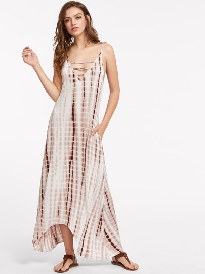 Cami Straps Ladder Cutout Tie-dye Maxi Dress