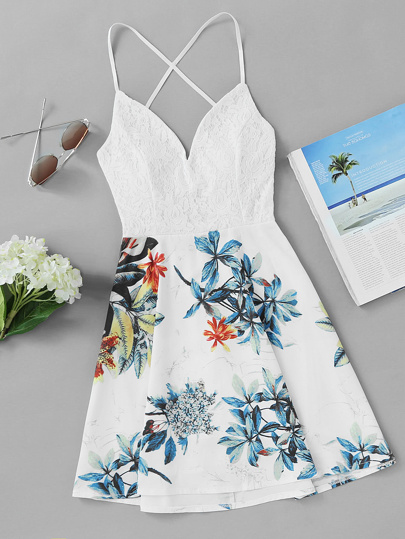 Criss Cross Back Lace Panel Tropical Print Dress
