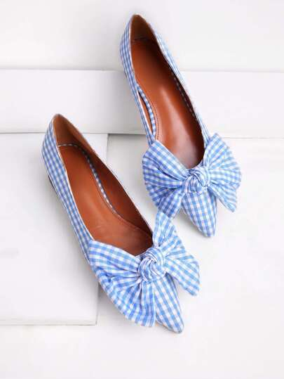 Bow Tie Decorated Pointed Toe Gingham Flats