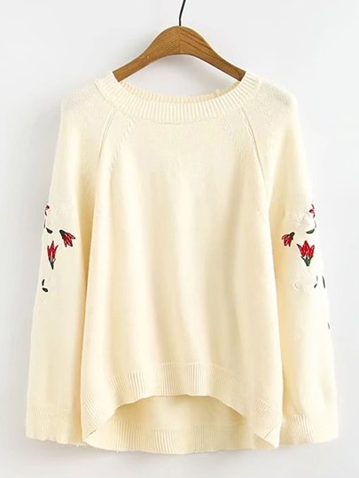 Raglan Sleeve Flower Embroidery High Low Sweater