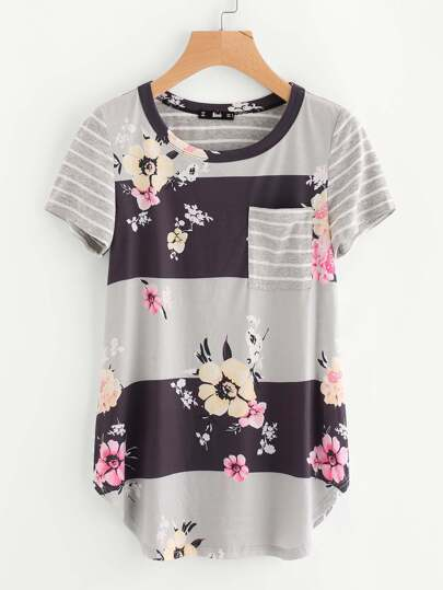 Mixed Print Cut And Sew Curve Hem Top