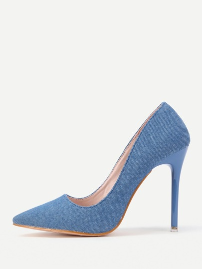 Pointed Toe Denim Stiletto Heels
