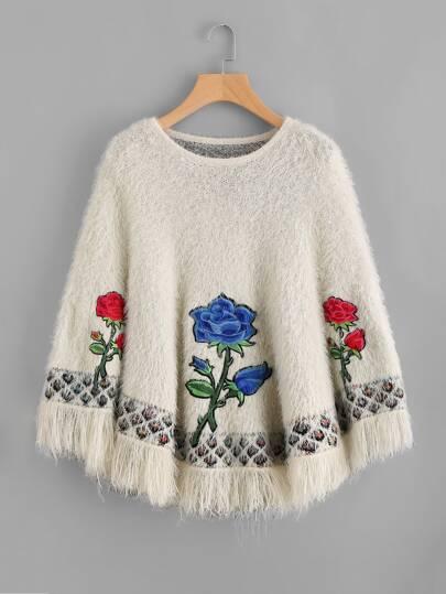 Embroidered Flower Applique Fringe Trim Fuzzy Poncho Jumper