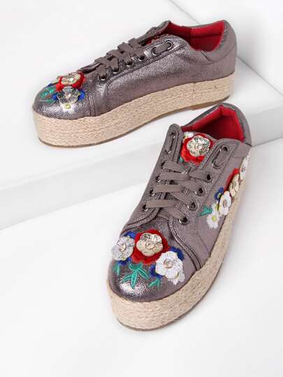 Rhinestone Detail Flower Decorated Lace Up Trainers